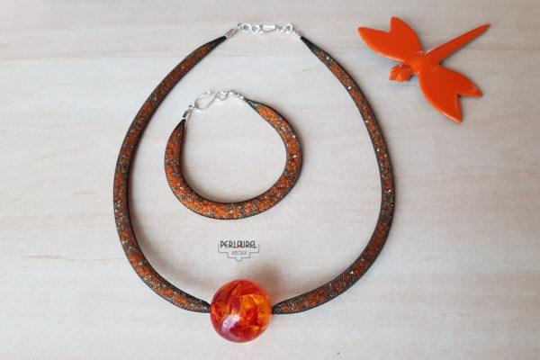 Collier et bracelet en résille oranges