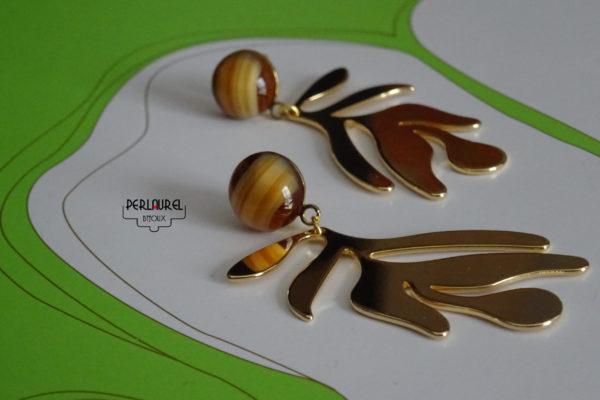 Boucles d'oreilles feuilles en plaqué or