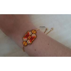 Bracelet-chaine- coulissante-orange-logo