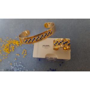 Bracelet et bague avec tissage de perles miyuki