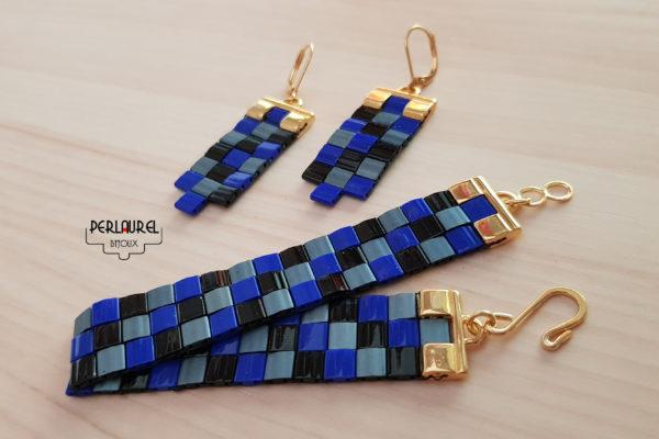 Boucles d'oreilles et manchette en perles miyuki tila beads