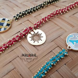 Bracelets chaîne chenille médaille